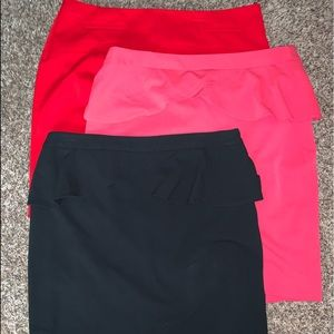 3 for 1 Express Skirts, Red, Black, Coral
